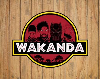 Marvel's Black Panther Wakanda (Jurassic Park Style) Logo Decal/Sticker