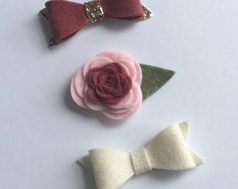 Felt Flower/Bow Set/Peonies/Headband/Hair Clip Set/Mauve/Ivory/Pink
