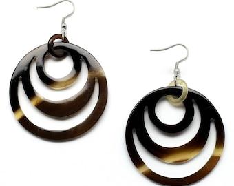 Horn Earrings, Natural Horn Earrings, Water Buffalo Horn Jewelr