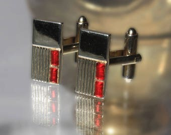 Modern and Sleek Gold Tone Cuff Links, Red Accent Rhinestones, Simple Mid Century Cufflinks, Formal Wear, Mens, Wedding