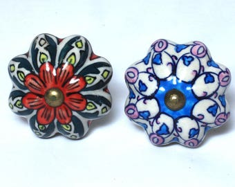 Vintage Large Ceramic Drawer Pulls, Blue and White, Green and Red