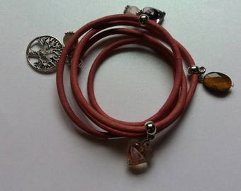 Red leather wrap bracelet with charms. Tree of life.