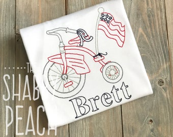 Vintage Tricycle Shirt, Patriotic Boy Shirt, Boy Patriotic Shirt, July Fourth Shirt, 4th of July Shirt, Vintage Patriotic Shirt