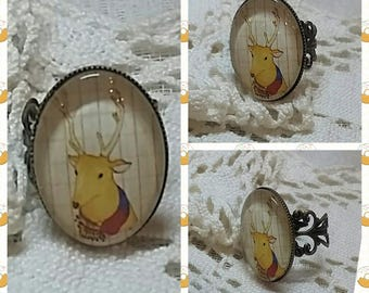 """Oval Ring """"small woodland deer"""". Cabochon glass 25 x 18 mm"""