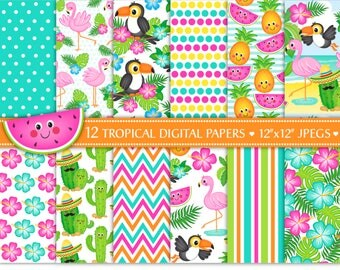 Flamingo Digital Papers,Cactus Digital Papers,Toucan Papers,Tropical Digital Papers,Tropical Backgrounds,Scrapbook Papers,Commercial Use
