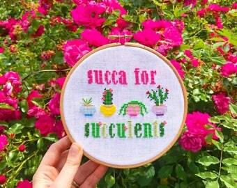 Cross Stitch Kit **Succa for Succulent**