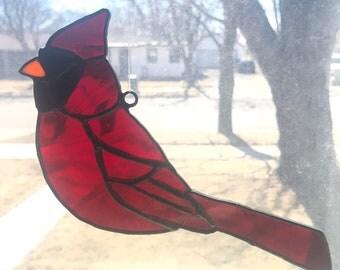 Staind glass cardinal suncatcher
