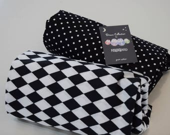 2 x Cot-Bed-Fitted-Sheet-100-COTTON- Cot Bed Fitted Sheet 100% COTTON Black White  Monochrome Bedding Toddler