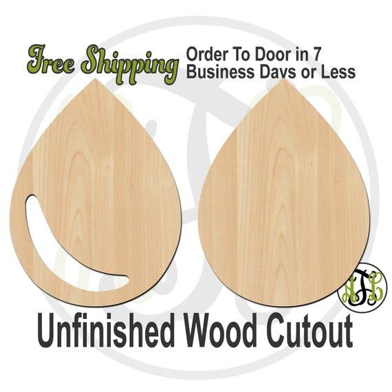 Tear Drop with Shadow or Solid - 300179-80- Fun Cutout, unfinished, wood cutout, laser cut shape, wood cut out, Door Hanger, rain drop shape