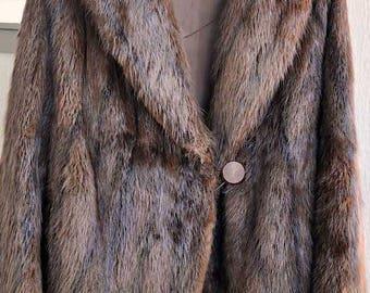 Womens Vintage Short Sable Brown Real Mink Fur Coat  / Lined Mink Fur Coat / Vintage Mink Jacket / Brown Fur Jacket / Vintage Mink Jacket