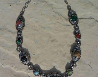 Vintage Miracle Scottish Celtic Design Glass and Base Metal Necklace