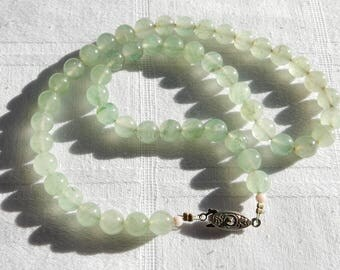 Chinese Serpentine Bead Necklace - Translucent Green Bead Necklace - Green Stone Beaded Single Strand Necklace
