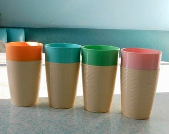 Four Ribbed Thermo-Temp Tumblers- Mid Century Modern Raffiwaware Insulated Tumblers - Four Modernist Plastic Water Cups - Mallory Randall