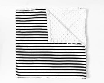 Black and White Stripe Baby Blanket - Black and White Stripe Crib Blankdt - Modern Baby Blanket - Minky Blanket- Cozy Baby Blanket