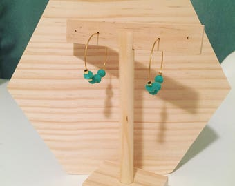Creole earrings gold plated with gold and turquoise beads