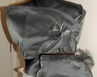 Silk Organza Pull Thru Wrap/Shawl/Shrug/Hands Free/Clutch/Long Island Bridal/New York Wedding/Navy/Black/Ivory/White/Burgundy/Red/Silver