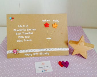 Personalised Best Friend Quote Cards - Handmade Best Friend Birthday Cards - Personalised Birthday Cards