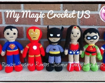 Superheroes Amigurumi, Batman, Superman, Robin, Captain Aerica, Wonder Woman, Spiderman. Price 26 USD Each