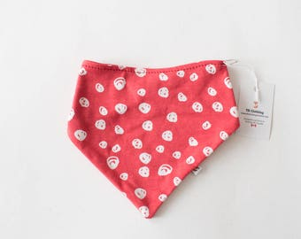 Organic Cotton Bibdana - Red Bobbles / Certified Organic / Drool Bib / Baby Bib