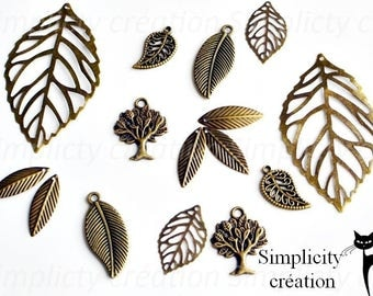 Set of 15 charms leaves and trees color bronze