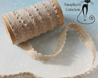 Lace 100% linen fabric natural 12mm
