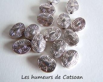 10 pearls in silver metal oval 11x9mm wit geometriques@les Catsoan moods