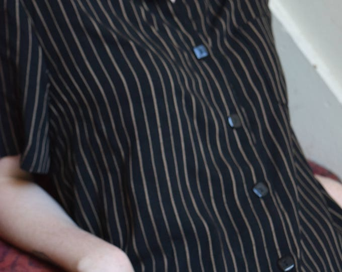 black and tan pinstripe bowling shirt.