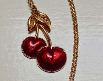 1980's Red and Gold Enamel CHERRY pendant Necklace Signed Avon 45cm - 70s 80s Fun Fruit Jewellery - Whimsical Jewelry - Vintage Gift For Her