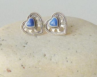 Vintage Sterling Silver and Lapis Lazuli Heart Stud Earrings, Vintage Pierced Earrings, Vintage Earrings, Blue Earrings, Pierced Hearts 925