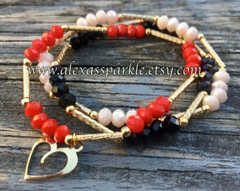 Set of three crystal bead bracelets-solid light beige-solid red-solid black-cristal colors