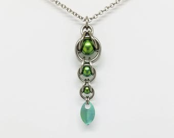 Green Captured Titanium Ball Chainmaille Stainless Steel Pendant with Tiny Titanium Green Scale