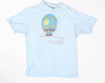 Vintage 1984 Smithsonian Museum Two Centuries of Ballooning Hot Air Balloon Graphic T-Shirt Tag Size L Fits S