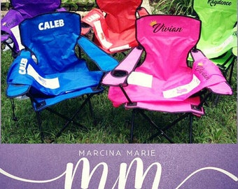 Personalized kid's folding lawn chairs with optional umbrella attachment