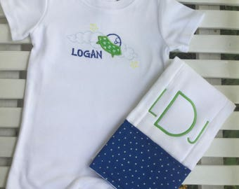 Outer Space Romper and Burp Cloth!