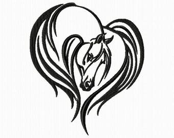 Embroidery design of a horse's head for machine embroidery format 4 x 4 and 5 x 7