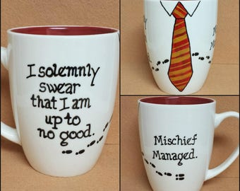 Discounted - I Solemnly Swear I Am Up To No Good / Mischief Managed ~ Marauder's Map ~ Gryffindor ~ Hand-painted Harry Potter Mug