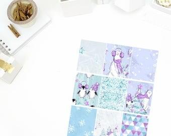 Glitzy Winter Full Boxes Stickers! Perfect for your Erin Condren Life Planner, calendar, Paper Plum, Filofax!