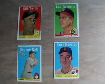 Vintage lot of 4 Original 1958 Topps baseball cards, Lou Burdette plus more