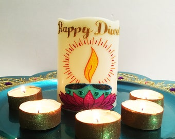 Led flameless candle/henna art/indian/diwali decor/wedding centerpiece/home decor/house warming/holiday gift/henna candles/diwali gift