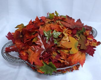 Autumn Flowers Mix Loose Petals & Leafs Fall Supper Table Decor Wreath Supply Loose Fall Foliage Autumn Wedding Rustic Themed Orange Leafs