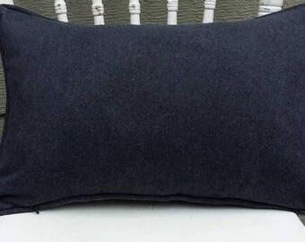Grey Wool Pillow, Grey Pillow, Lumbar Pillow - 20 x 14