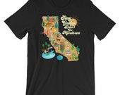 Stay Golden - Golden State Killer - California Illustrated Murder Map Unisex T-Shirt - Dark Colorways