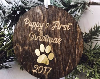 Dog Ornament, Puppy's First Christmas,Christmas Ornaments,Ornament,Ornaments Personalized,Engraved Dark Stained Wood Ornament, Gold Ornament