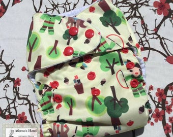OS Pocket Cloth Diaper with Snaps and 5 Layer Bamboo / Hemp / Microfiber Insert