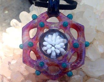 Glass Pendant, Pink Mandala Glass Implosion Pendant