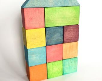 Rainbow Maple Wood Block Set, Wood Blocks, Wood Toys