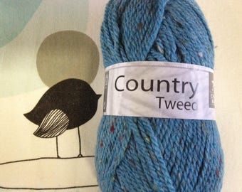 WOOL TWEED blue - white horse COUNTRY