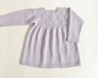 SALE 15 % Hand knit baby dress/ knitted baby dress/baby alpaca dress / baby girl dress/woolen dress/baby girl gift/ baby dress/ready to ship