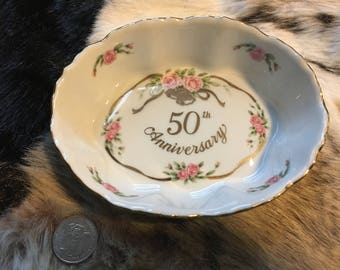 50th Anniversary Sweet Meat Dish by Lefton Candy Dish