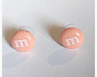 M&M Peach Stud Earrings